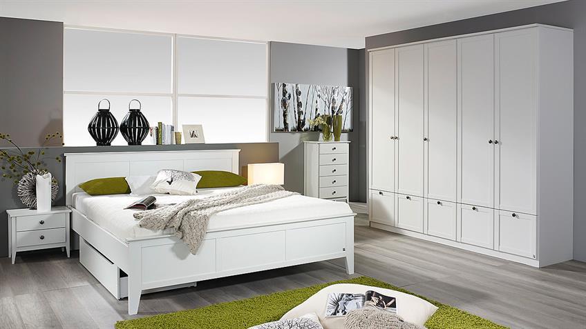 Schlafzimmer ROSENHEIM GERA Bett Schrank Nachttisch in weiß