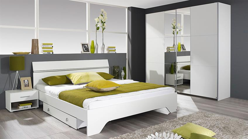 Bettanlage FELLBACH Bett Schlafzimmerbett Nako weiß 180x200