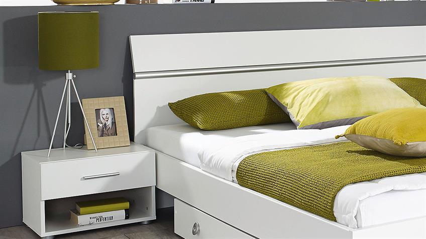 Schlafzimmer FELLBACH Bett Schrank Nako in weiß