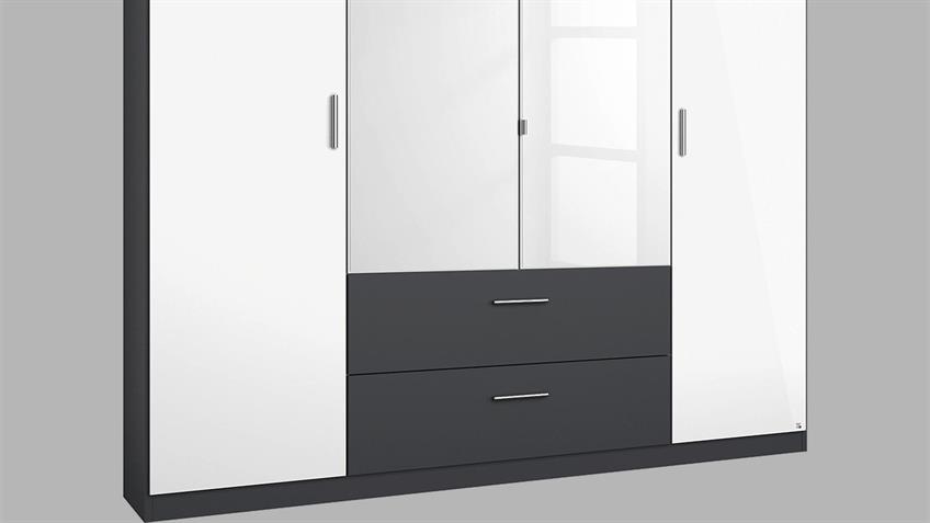 Kleiderschrank PASSAU in weiß Hochglanz grau metallic 181