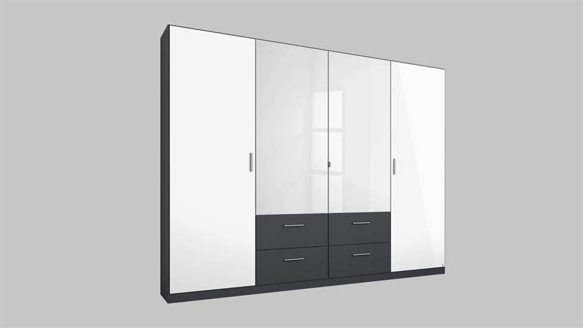Kleiderschrank PASSAU in weiß Hochglanz grau metallic 226