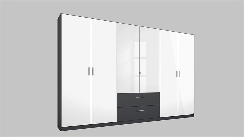 Kleiderschrank PASSAU in weiß Hochglanz grau metallic 271