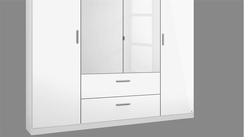 Kleiderschrank 2 PASSAU in weiß Hochglanz grau metallic 181