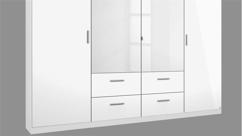 Kleiderschrank 2 PASSAU in weiß Hochglanz grau metallic 226