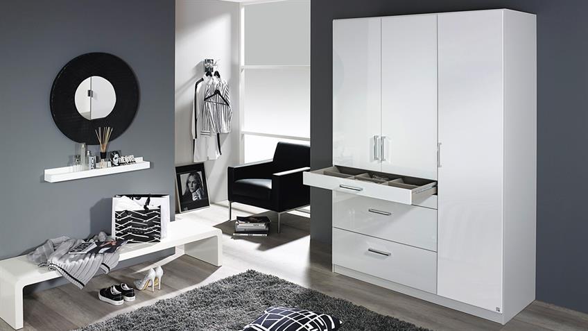 Kleiderschrank HOMBURG Schrank in weiß Hochglanz 136