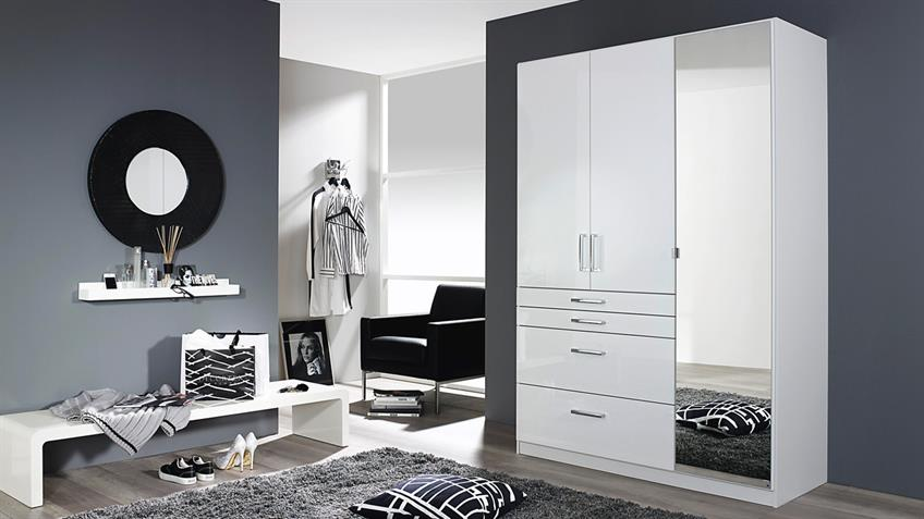 kleiderschrank homburg schrank wei hochglanz spiegel 136. Black Bedroom Furniture Sets. Home Design Ideas