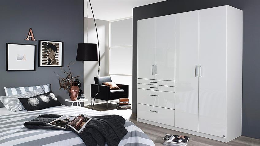 Kleiderschrank HOMBURG Schrank in weiß Hochglanz 181