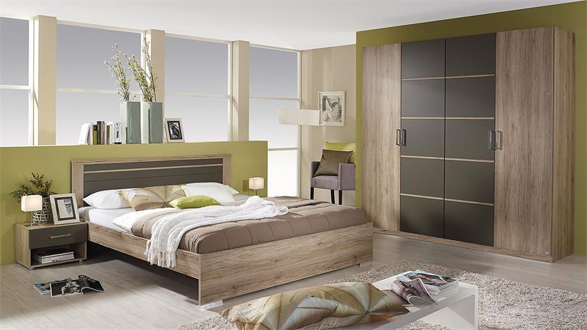 Schlafzimmer HERBORN Bett Schrank in Eiche San Remo lavagrau