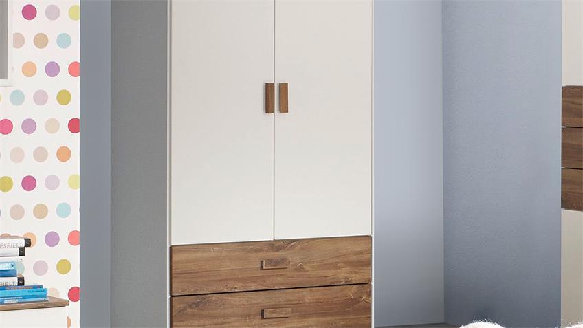 Kleiderschrank SUSANN Schrank in weiß Eiche Stirling 91 cm