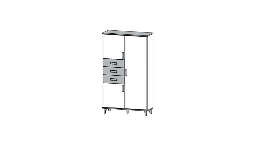 Schrank SUSANN Highboard in weiß Eiche Stirling 92 cm