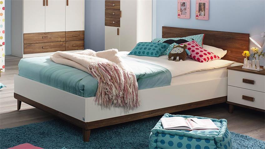 Bett SUSANN Futonbett in weiß und Eiche Stirling 120x200
