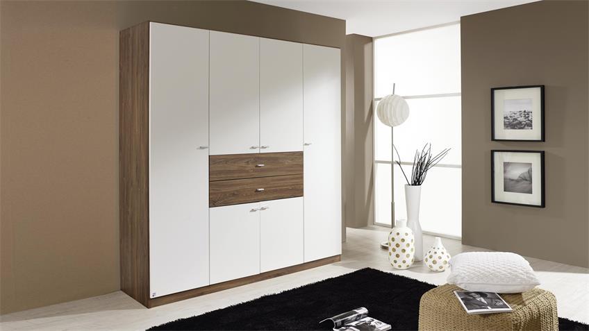 Kleiderschrank LANDSBERG Schrank in weiß und Eiche Stirling 181 cm