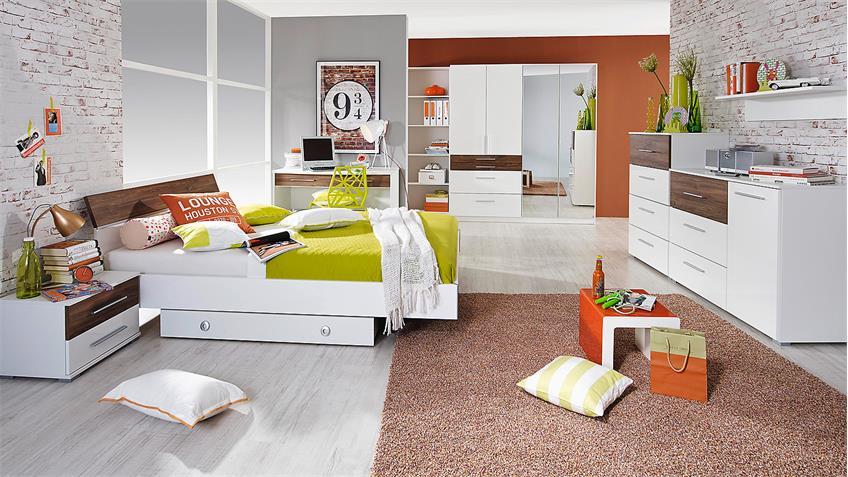 Jugendzimmer NELIA in weiß Hochglanz und Eiche Stirling