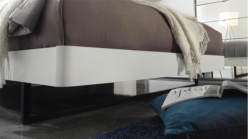 Bett DAVIA Schlafzimmerbett weiß hellgrau Polster 180x200