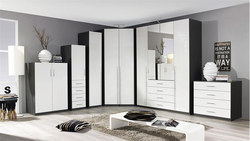 Kleiderschrank ELAN Schrank in weiß Hochglanz und graphit