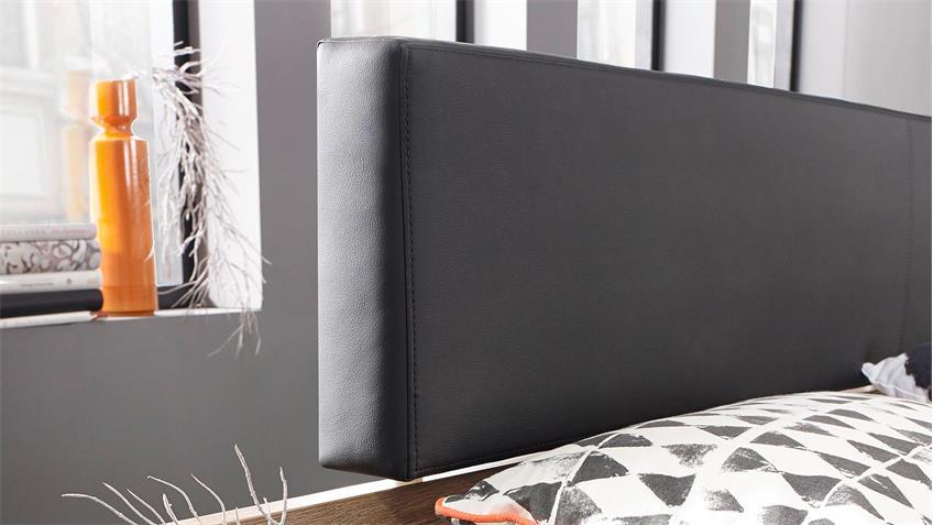 Bettanlage CALGARY Bett Eiche Stirling Polster schwarz 180