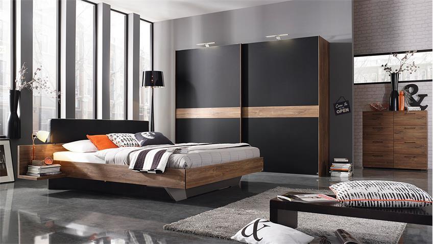 Schlafzimmer CALGARY Bett Schrank Eiche Stirling schwarz