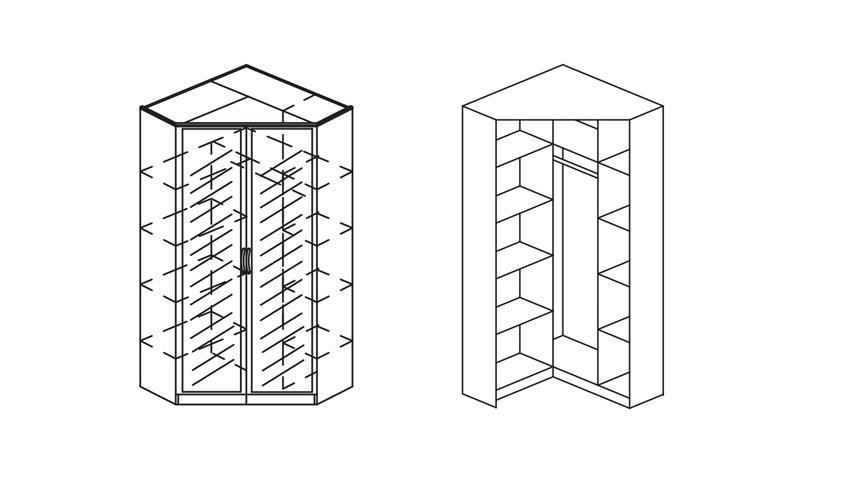 Eckschrank BREMEN Kleiderschrank in weiß mit Spiegel 117