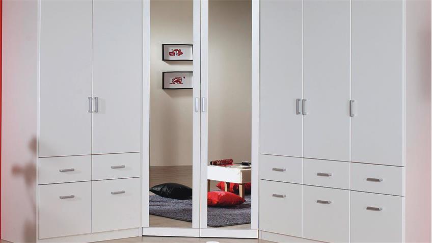 Eckschrank BREMEN Kleiderschrank in weiß mit Spiegel