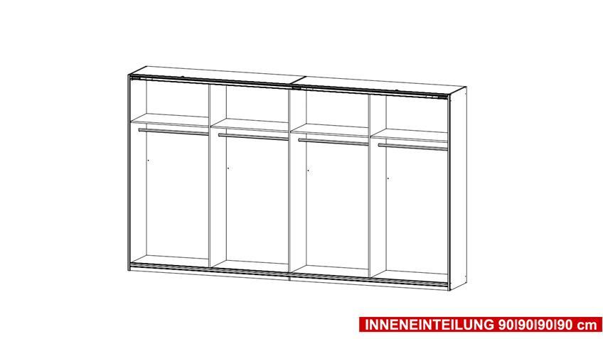Schwebetürenschrank SYNCRONO in weiß mit Spiegel 316 cm