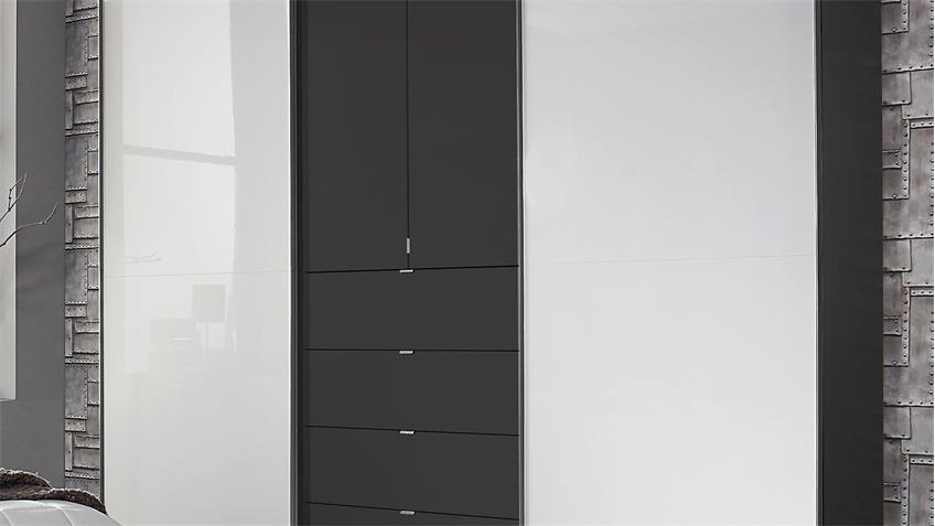 Kleiderschrank BAYLANDO 5 Schrank graphit weiß Hochglanz