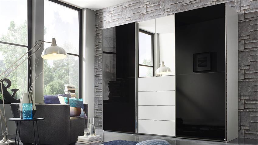 Kleiderschrank BAYLANDO 6 in weiß schwarz Hochglanz Spiegel