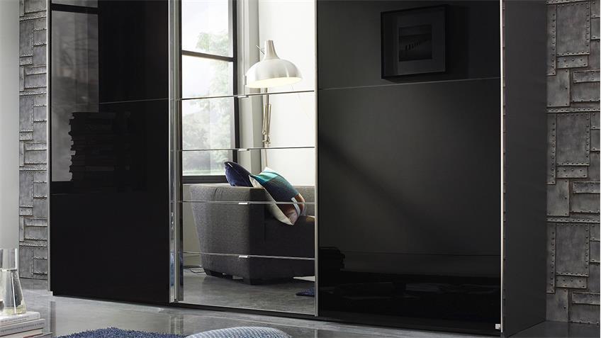 Kleiderschrank BAYLANDO 7 graphit schwarz Hochglanz Spiegel