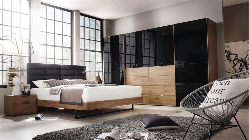 Schlafzimmer DAVIA BAYLANDO Eiche Stirling schwarz Hochglanz