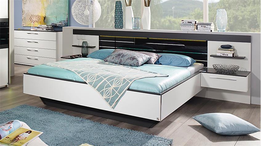 Bett COLEEN Nachtkommode weiß graphit Basaltglas LED 180