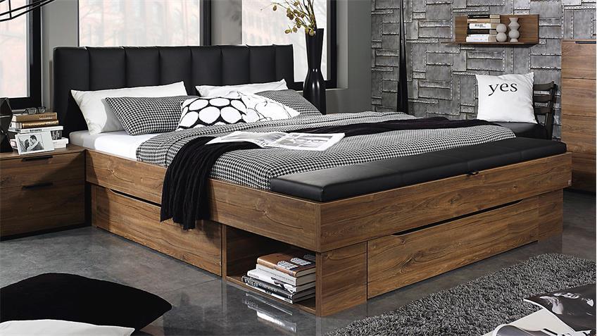 Bett SARANAS Schlafzimmerbett Eiche Stirling schwarz 180