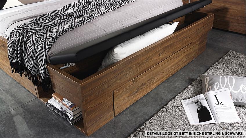 Bett SARANAS Schlafzimmerbett Eiche Stirling und weiß 180