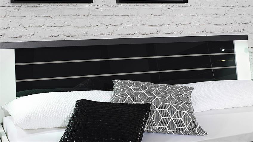 Schlafzimmer Set NIENBURG in weiß und Glas in basalt
