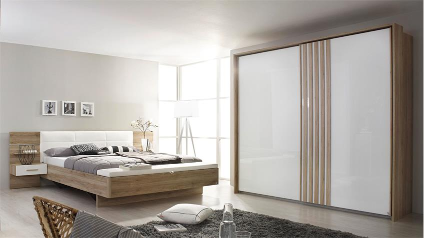 schlafzimmer set 2 mosbach in sanremo eiche hell wei led. Black Bedroom Furniture Sets. Home Design Ideas