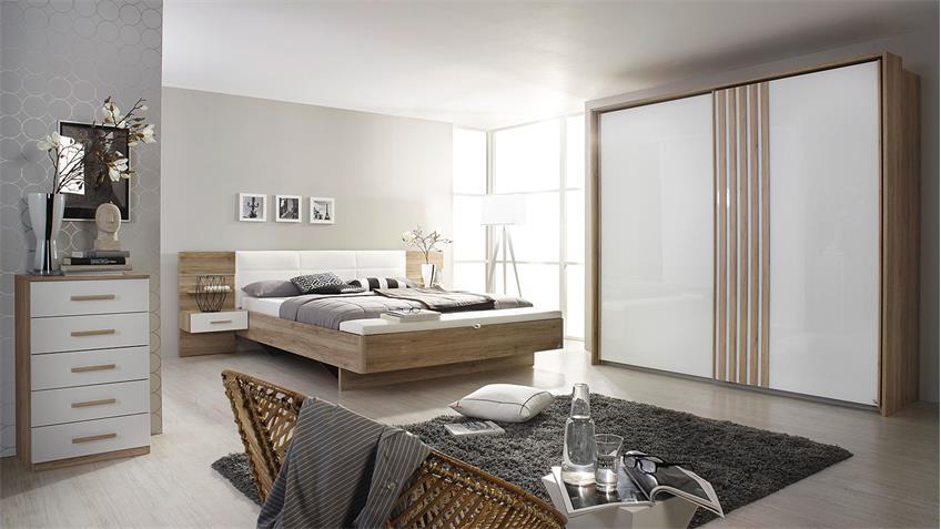 Schlafzimmer Set 2 MOSBACH in Sanremo Eiche hell weiß LED
