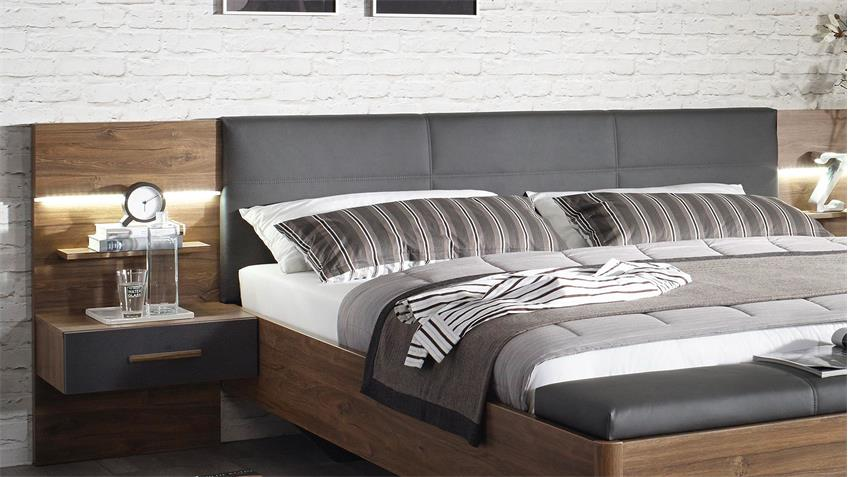 Bettanlage MOSBACH Bett Eiche Stirling grau metallic LED 180