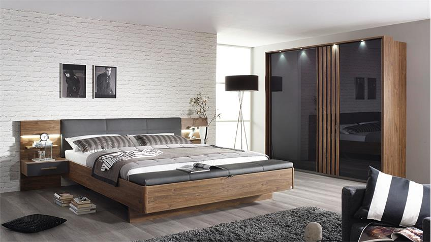 Schlafzimmer Set 2 MOSBACH Eiche Stirling grau basalt LED