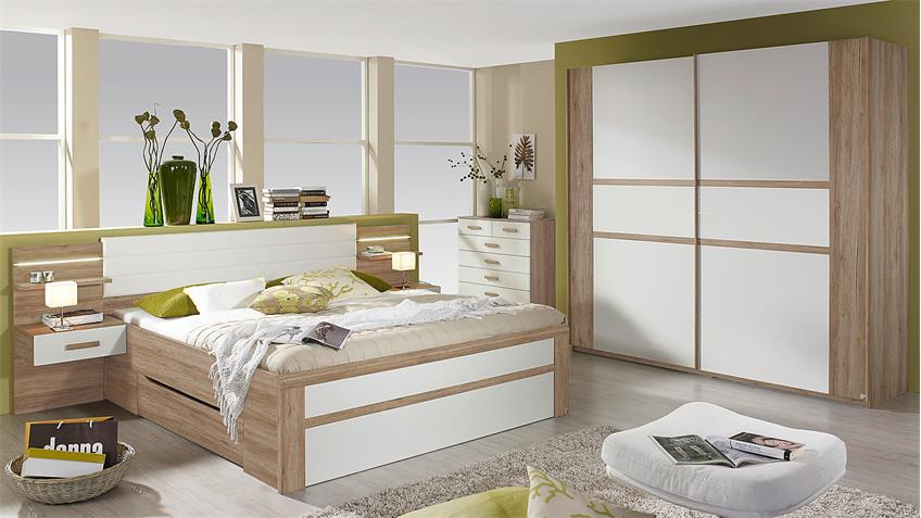 Schlafzimmer Set BERNAU in Eiche Sanremo hell und weiß