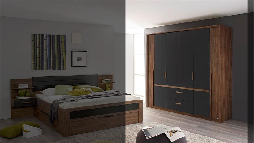 Kleiderschrank BERNAU in Eiche Stirling grau metallic 226