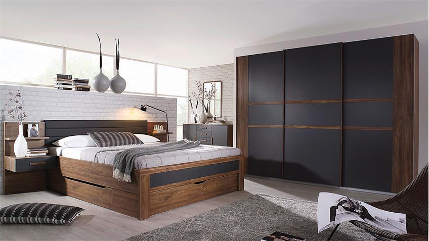 Schlafzimmer Set 3 BERNAU Eiche Stirling grau und basalt