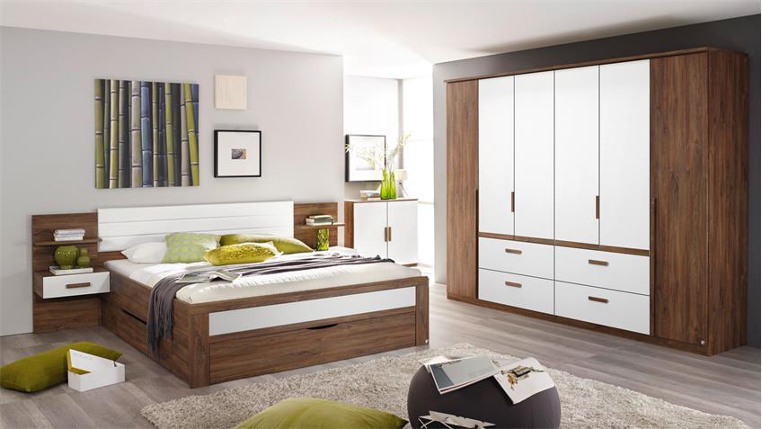 Schlafzimmer Set BERNAU in Eiche Stirling und weiß