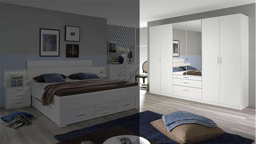 Kleiderschrank FRIEDBERG Schrank in weiß mit Spiegel 271