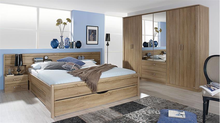 Schlafzimmer Set CHAM Schrank Bett Nako in Sonoma Eiche