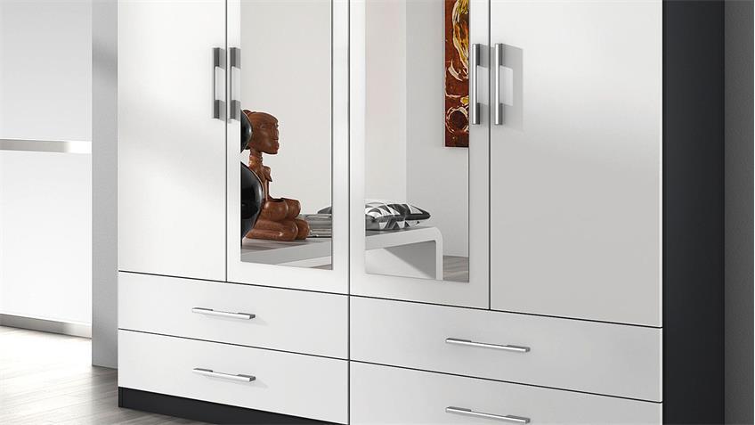 Kleiderschrank HERSBRUCK Schrank weiß grau metallic 181