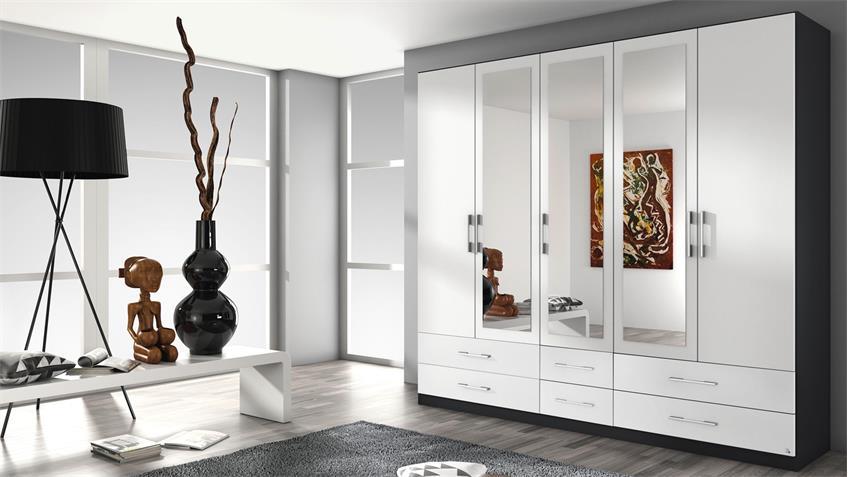 Kleiderschrank HERSBRUCK Schrank weiß grau metallic 226