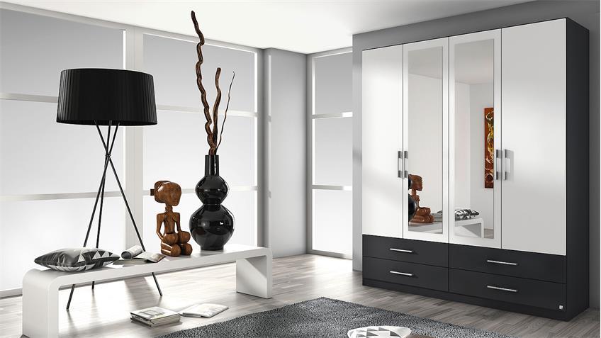 Kleiderschrank HERSBRUCK-Extra in weiß grau metallic 181