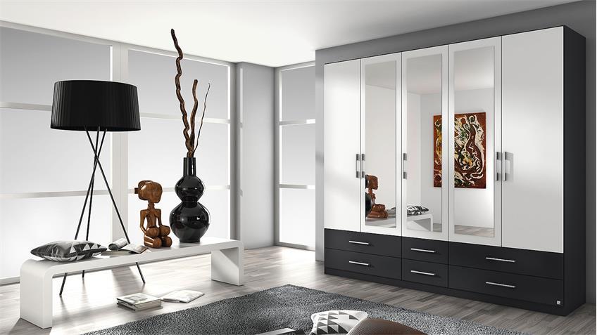 Kleiderschrank HERSBRUCK-Extra in weiß grau metallic 226