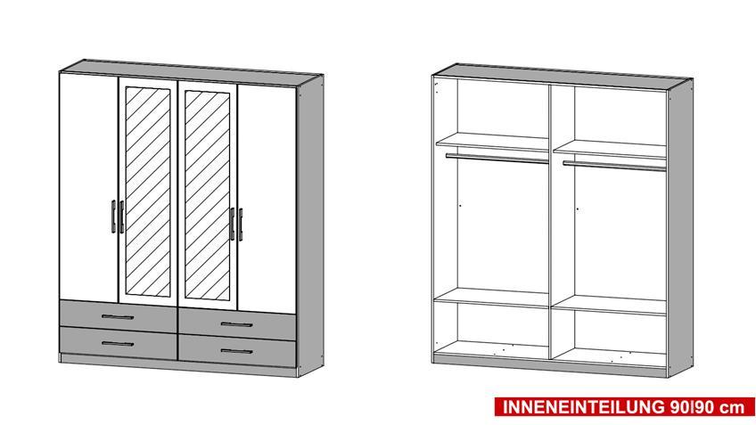 Kleiderschrank HERSBRUCK-Extra in weiß Eiche Stirling 181