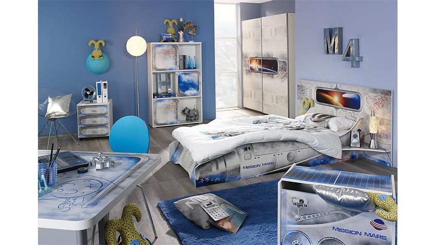 Regal MIMAS Schieberegal Schrank in weiß mit Space-Motiv