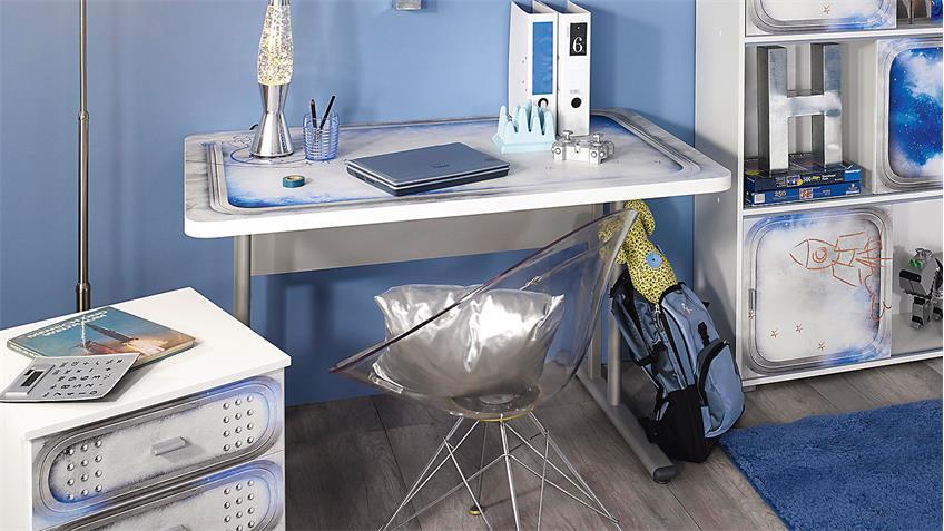 Schreibtisch MIMAS weiß mit Space-Motiv höhenverstellbar