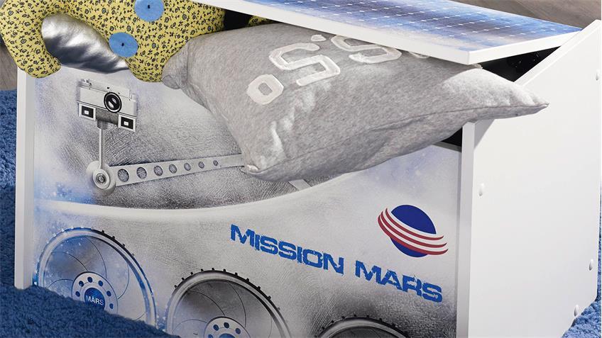 Truhe MIMAS Kommode in weiß mit Space-Motiv 70 cm